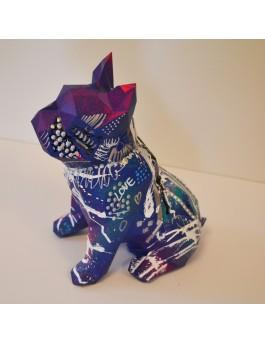 Petit chien bleu - Sculpture de bouledogue originale