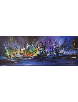 tableau abstrait panoramique violet bleu