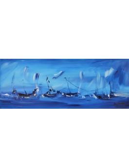 tableau abstrait panoramique bleu de bateaux