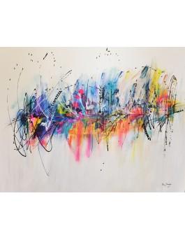 Plaisirs inspirés - grand tableau abstrait contemporain coloré