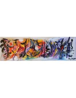 Flammes et glace - tableau abstrait panoramique multicolore