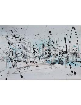 tableau abstrait blanc bleu rose poudre