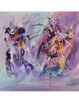 Le géant bienfaiteur - tableau abstrait violet