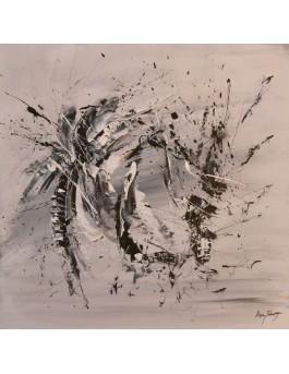 Lutte en plein vol - tableau abstrait gris noir blanc