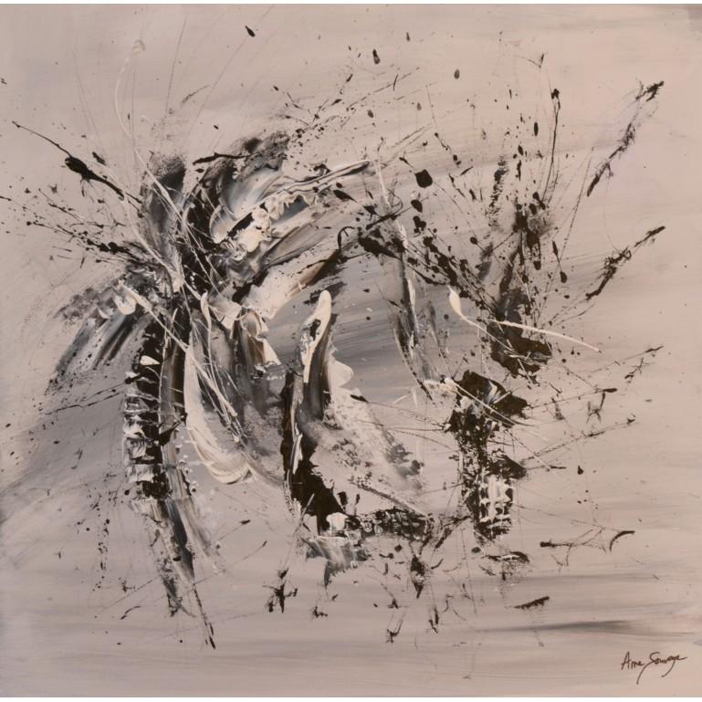 tableau abstrait gris noir blanc