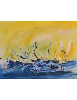 Nombreux sur l'eau - tableau abstrait bleu et jaune de bateaux