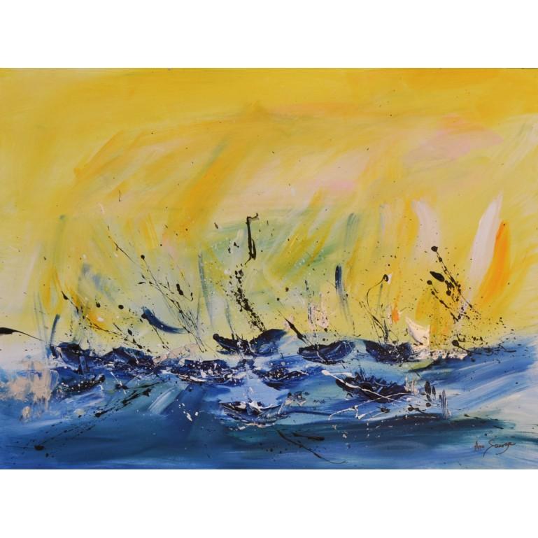 tableau abstrait jaune et bleu de bateaux