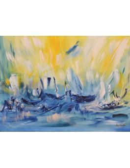 La mer s'agite - tableau abstrait jaune et bleu de bateaux