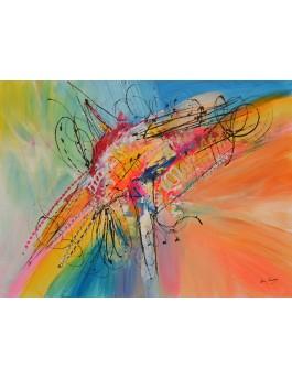 Objet d'un autre monde - tableau abstrait couleurs vives