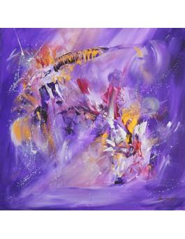 Vivifiant - tableau abstrait violet et or