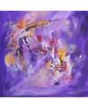 tableau abstrait violet et or