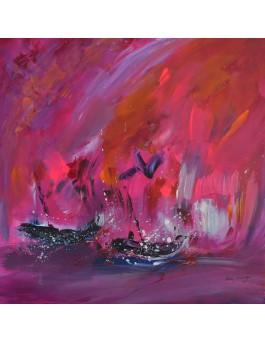 L'oiseau des mers - tableau abstrait rose flashy