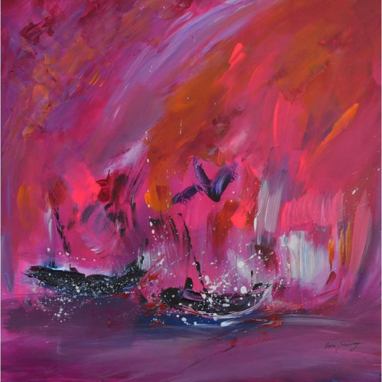 tableau abstrait rose flashy