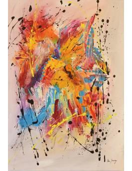 Renaissance - tableau abstrait vertical multicolore