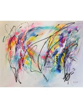 La lumière sur les couleurs - grand tableau abstrait contemporain coloré