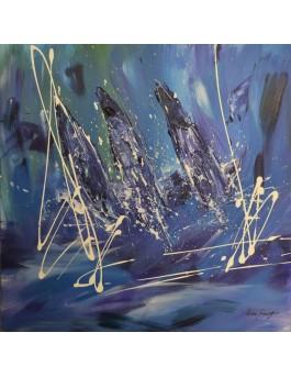 Voiles sur l'Atlantique - tableau abstrait voiliers en mer