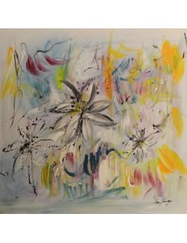 Les lys des rêves - tableau abstrait fleurs de lys