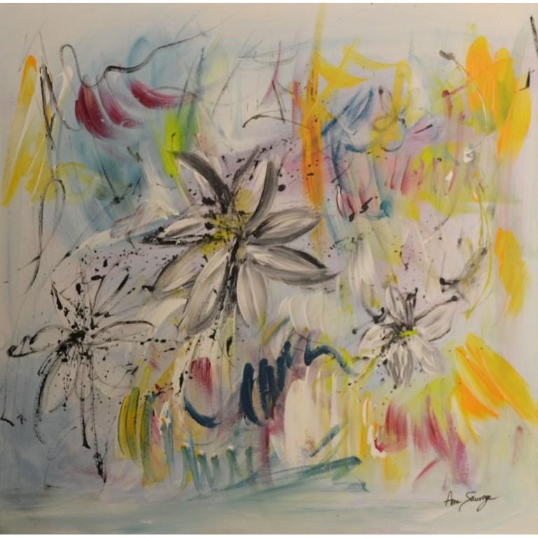 tableau abstrait fleurs de lys