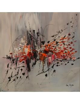 Nuée d'oiseaux - tableau abstrait gris blanc rouge orange