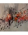 tableau abstrait gris blanc rouge orange