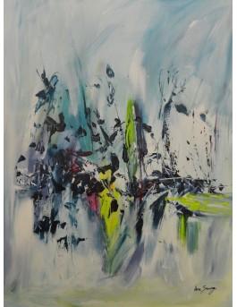 Vol et mouvement en plein air - tableau abstrait moderne bleu vert