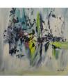 tableau abstrait moderne bleu vert