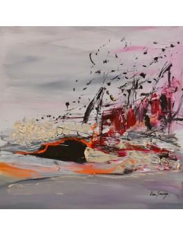 Une journée venteuse - tableau abstrait contemporain gris rouge au couteau