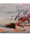 tableau abstrait contemporain gris rouge au couteau