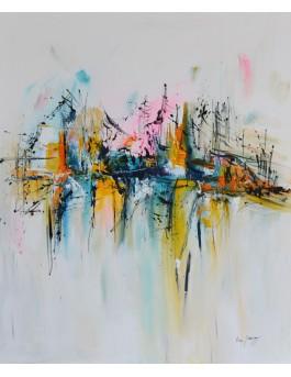 Paradis volant - tableau abstrait coloré vertical