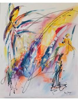 Le sage d'or - tableau abstrait moderne coloré multicolore
