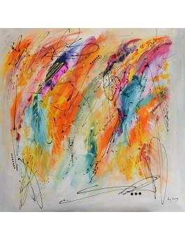 L'envolée sauvage - grand tableau abstrait coloré aux couleurs vives