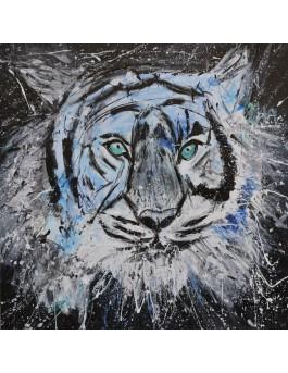Le tigre aux yeux verts - tableau abstrait tigre original