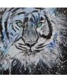 tableau abstrait tigre yeux bleus verts