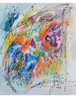 Cascade multicolore - tableau abstrait coloré vertical
