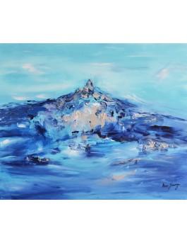 La montagne bleue - tableau abstrait bleu à l'acrylique sur toile