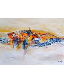 Vision d'un monde - grand tableau abstrait coloré sur toile