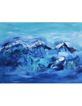 Les 3 sommets - peinture abstraite montagnes