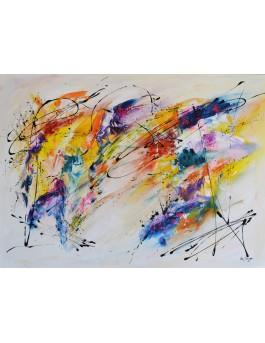 Le souffle du vent - tableau abstrait contemporain coloré