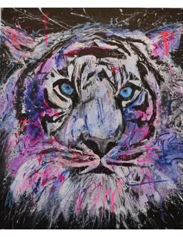 Purple tiger - tableau tigre abstrait