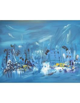 Cavité de glace - tableau abstrait bleu jaune sur plaque de bois