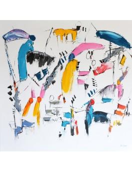 Les artistes - Grand tableau abstrait coloré sur fond blanc
