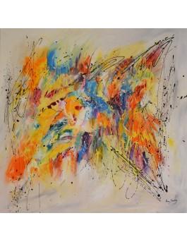 L'infinie créativité - grand tableau abstrait coloré aux couleurs vives