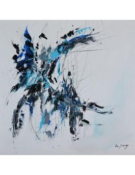 L'homme et le dragon - tableau abstrait blanc bleu gris