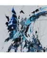 tableau abstrait blanc bleu gris