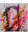 tableau abstrait noir rose fluo