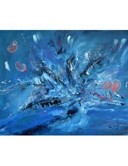 Dans les profondeurs de l'océan - tableau moderne bleu