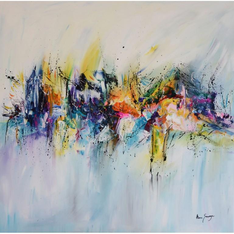 grand tableau contemporain coloré acrylique