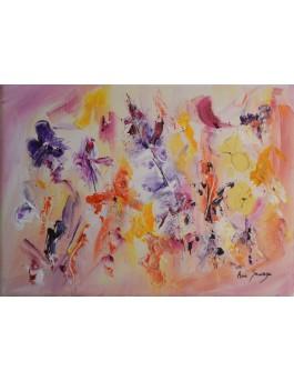 petit tableau abstrait fleurs