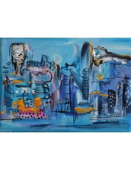 Flipper city - petit tableau abstrait bleu