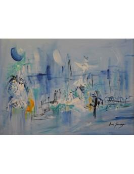 Sous la lune bleue - petit tableau abstrait bleu